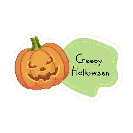 Cartoon Creepy Halloween pumpkin sticker. Vector illustration. Ilustração