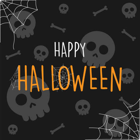 Happy Halloween cartoon skeletons background, vector illustration Ilustração