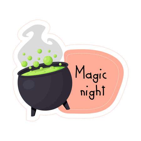 Cartoon Halloween black cauldron with potion Magic night sticker. Vector illustration. Ilustração
