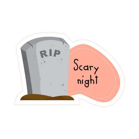 Cartoon Halloween Scary night gravestone sticker. Vector illustration.
