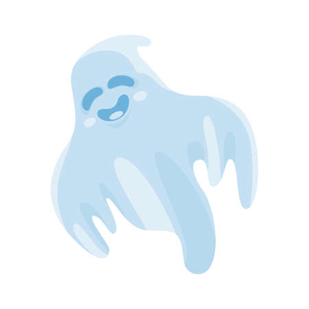 Cartoon cute halloween ghost. Vector illustration.