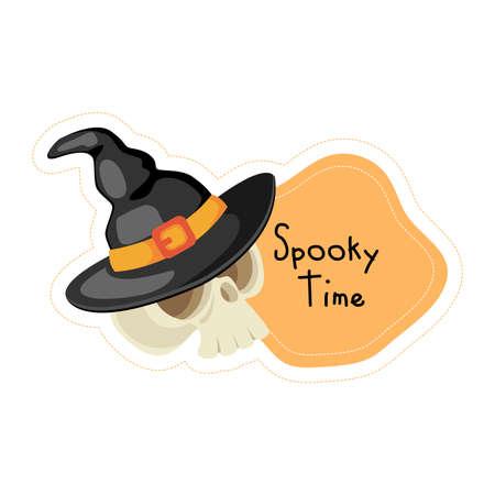 Cartoon Halloween skull Spooky time sticker. Vector illustration.