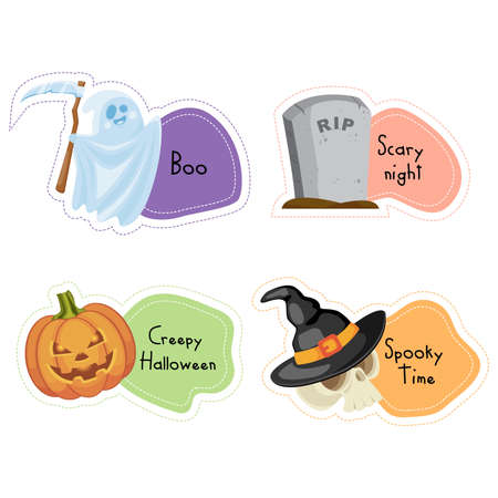 Cartoon Halloween stickers set. Vector illustration. Ilustração