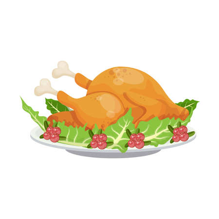 Cartoon fried turkey traditional Thanksgiving day family dinner dish with cranberries and salad leaves garnish. vector illustration.