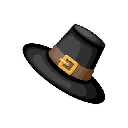 Black Pilgrim hat, cartoon vector illustration for Thanksgiving holiday