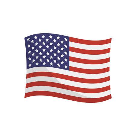 USA flag on white background. Cartoon vector illustration. Ilustração