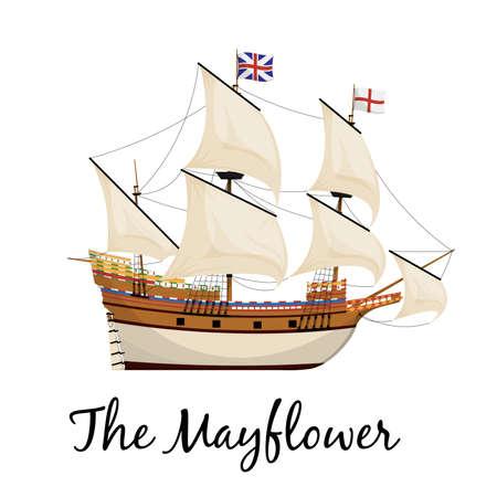 The Mayflower ship. Pilgrim ship. Cartoon vector illustration for Thanksgiving day holiday.
