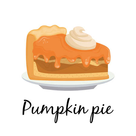 Cartoon pumpkin pie piece on the plate. Vector illustration for Thanksgiving holiday