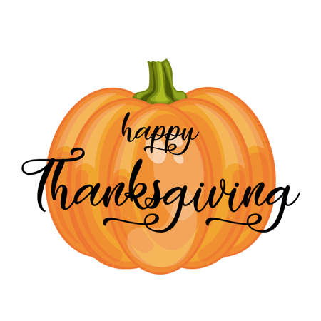Happy Thanksgiving lettering on pumpkin background. Vector illustration.