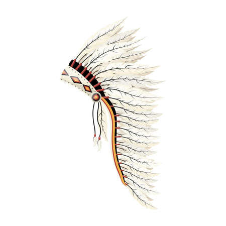 Cartoon feather headdress, native americans feather hat. Vector illustration.