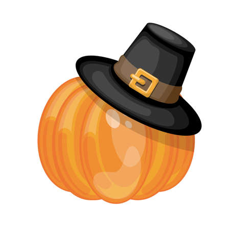 Cartoon pumpkin wearing Pilgrims hat. Cartoon vector illustration.