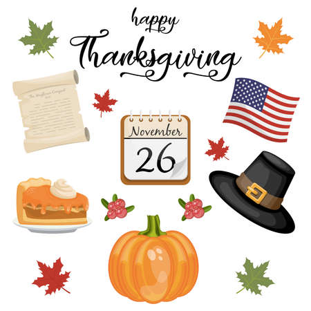 Happy Thanksgiving day lettering with set of traditional elements. Vector illustration.
