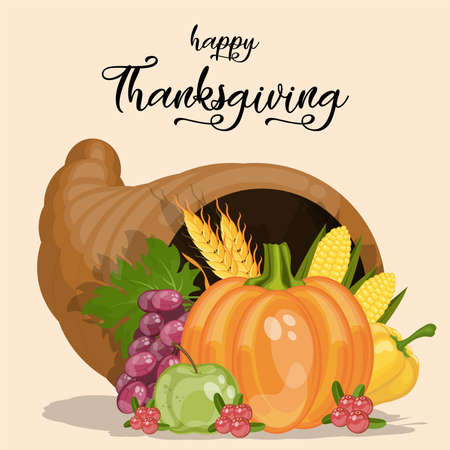 Happy Thanksgiving poster. Cornucopia. Horn of plenty. Harvest. Cartoon vector illustration for Thanksgiving day.