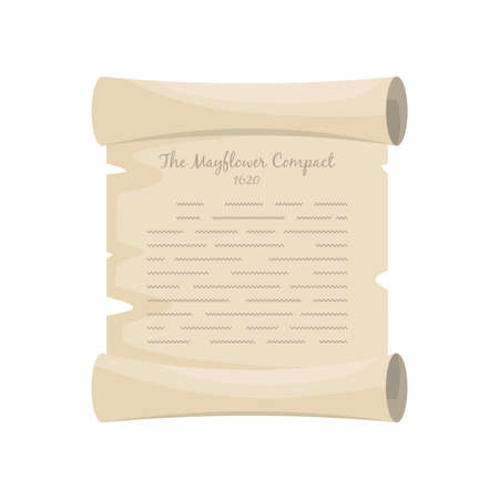 The Mayflower Compact 1620 old pergament. Cartoon vector illustration for Thanksgiving holiday.