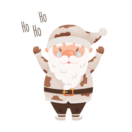 Cute cartoon Santa Claus character wearing the costume with cow pattern. For Chinese New year of the zodiac ox cow year. Vector illustration.