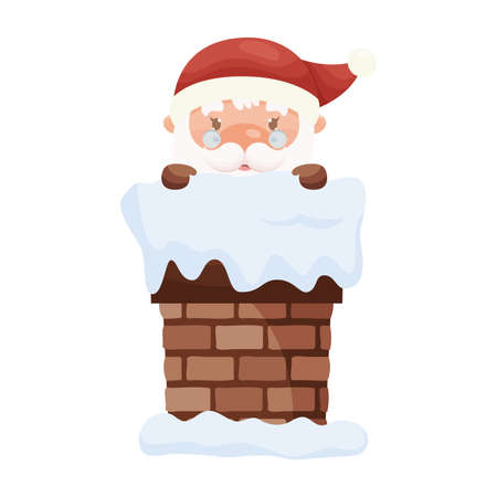 Cartoom cute Santa Claus character looking out from the chimney. Vector illustration