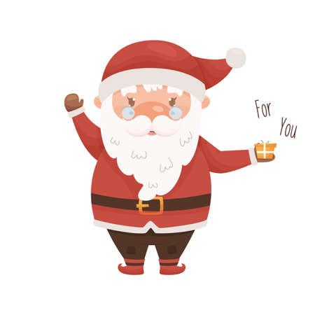 Cute cartoon Santa Claus character. Vector illustration. Illustration