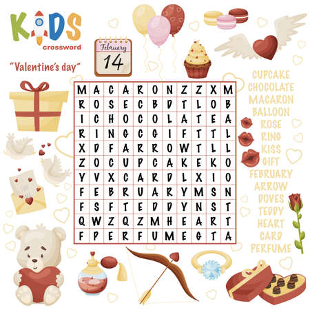 "Easy word search crossword puzzle ""Valentine's day"", for children in elementary, primary and middle school. Fun way to practice language comprehension and expand vocabulary. Includes answers."
