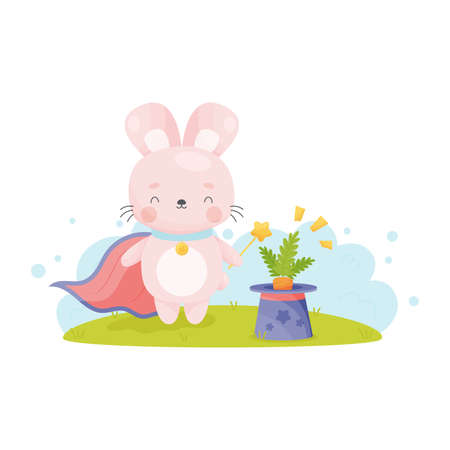 Cute cartoon Easter bunny with magic wand gets out carrot from the hat . Vector illustration.