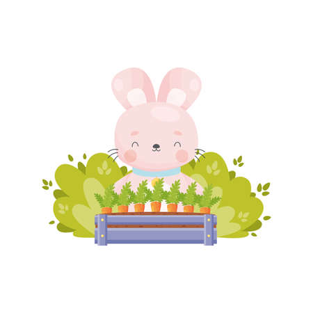 Cute cartoon Easter bunny grows carrots. Vector illustration.