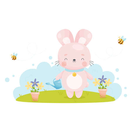 Cute cartoon Easter bunny watering flowers from a watering can. Vector illustration.