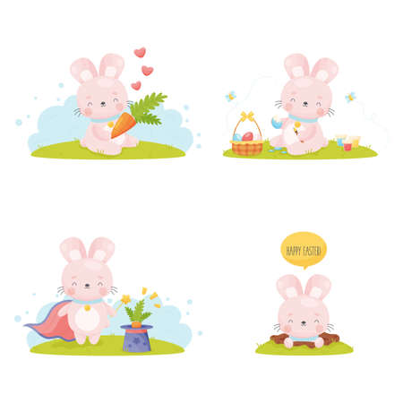 Cute cartoon Easter bunny set. Vector illustration.