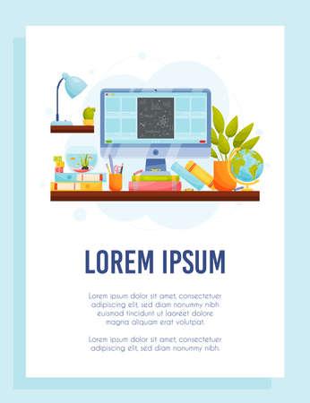 Online education flyer concept. Home workspace. Remote education. Vector Illustration. Vecteurs