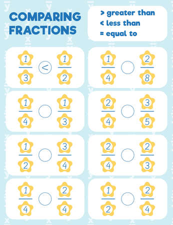 Comparing fractions worksheet, math practice print page. Count and write.