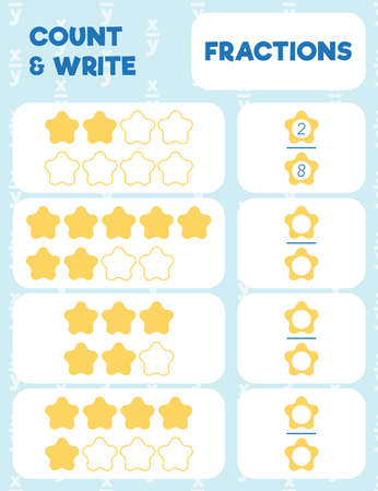 Fractions worksheet, math practice print page. Count and write. Ilustración de vector
