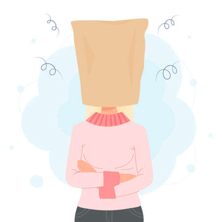 Woman in paper bag over her head needs time to think or tame anger. concept illustration Vecteurs