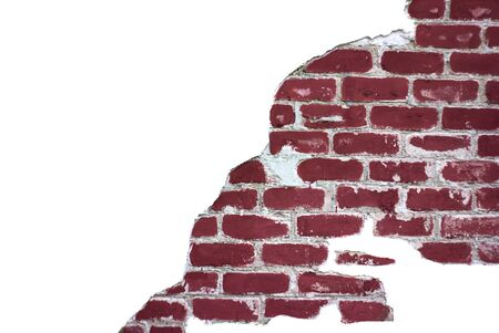 Break in a brick wall, texture background, isolated, copy space