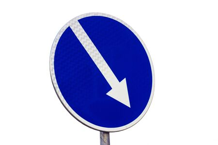 Mandatory road sign indicating pass on right
