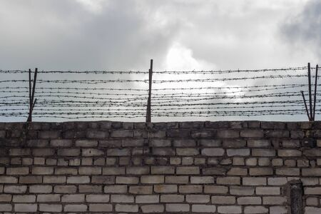 Barbed wire on the background of the dark blue sky. Symbol of the daydream on the liberty.
