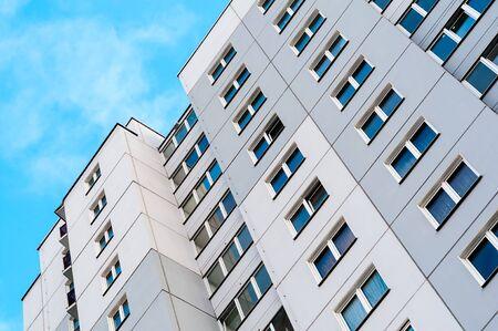 Apartment diagonal with blue sky and cloud Stok Fotoğraf