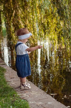 little girl in denim overalls and a white T-shirt feeds geese with bread. Stok Fotoğraf