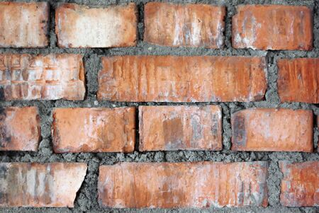 old red brick wall with cement close up