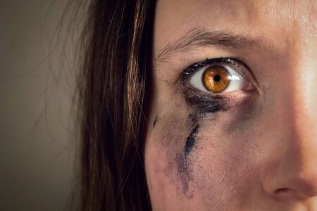 crying girl with leaking mascara, eye full of horror close-up. violence against women, the concept of freedom of speech, censorship, freedom of the press. International Human Rights Day.