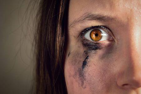 fille qui pleure avec du mascara qui fuit, œil plein d'horreur en gros plan. violence à l'égard des femmes, le concept de liberté d'expression, la censure, la liberté de la presse. Journée internationale des droits de l'homme. Banque d'images