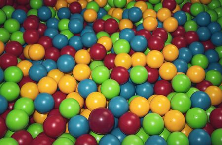 Children's playpen colorful balls. Top down view. background