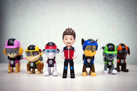 Minsk, Belarus - September 1, 2020: Paw patrol team team standing in a row. miniatures of the heroes of the popular animated series