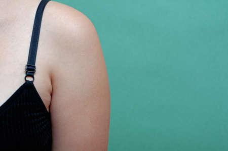 Close up woman skin underarm. problem armpit fat skin concept.