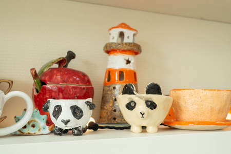 ceramic products made of clay after glazing and firing in the ceramics workshop studio