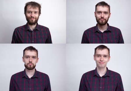 Handsome man after or before shaven. Collage of man portrait. Example of changing the face depending on the amount of hair on face