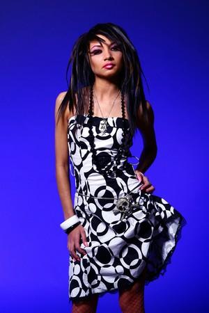 emo girl with beautiful hair photo