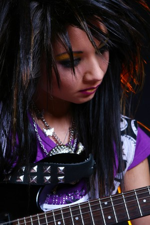 emo girl with beautiful hair Stock Photo - 4334942