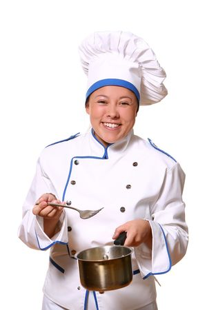 youg and beautiful chef with smile Stock Photo - 8750525