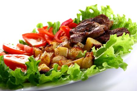 fresh garnir food with salad photo