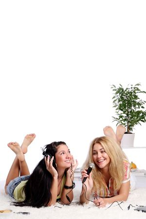sexy teen girl: two young girls at home