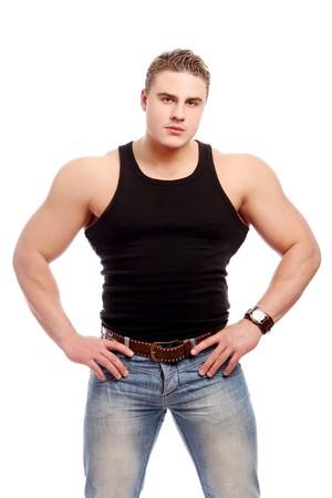 musculo: hombre joven y hermoso con m�sculo