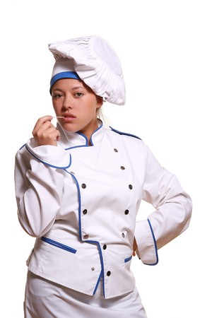 beautiful woman in chef images Stock Photo - 8750646